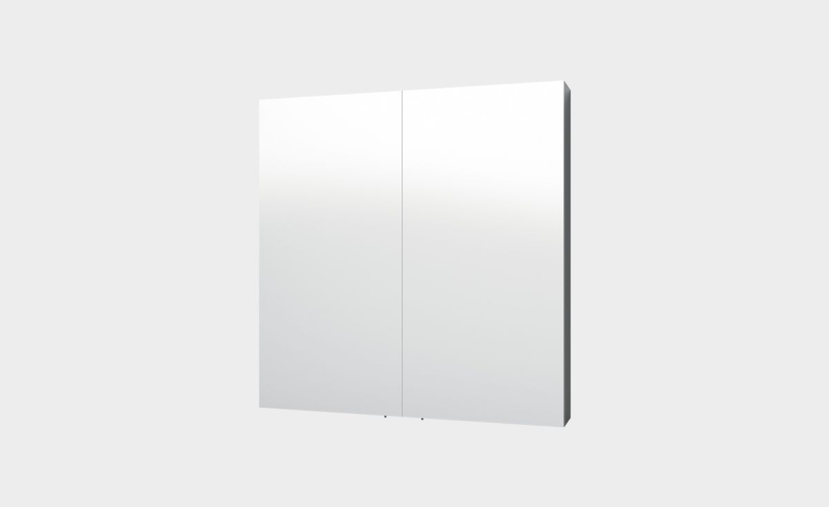 Mirror Unit, 750. 2 Doors, 2 Shelves. white
