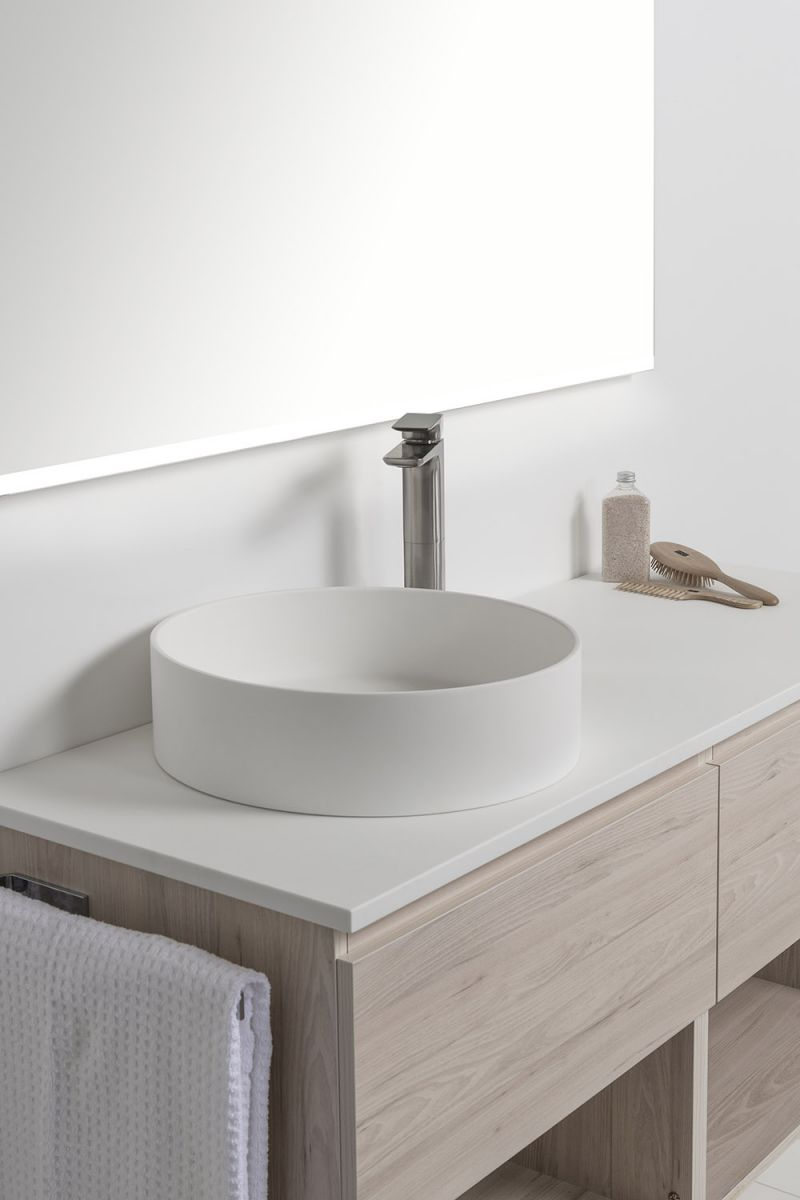Soft Solid Surface 1550 Wall-Hung Vanity Double Bowls 2 Drawers & Open Shelves