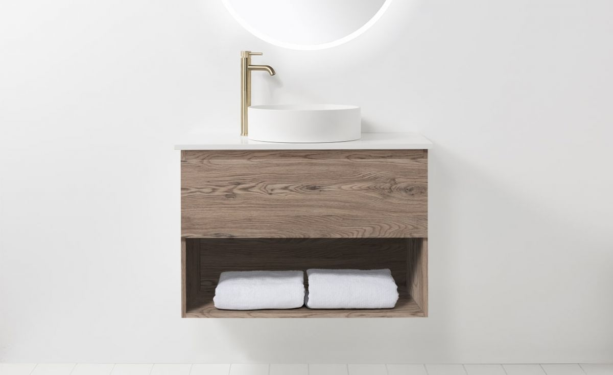 Soft Solid Surface 900 Wall-Hung Vanity 1 Drawer & Open Shelf