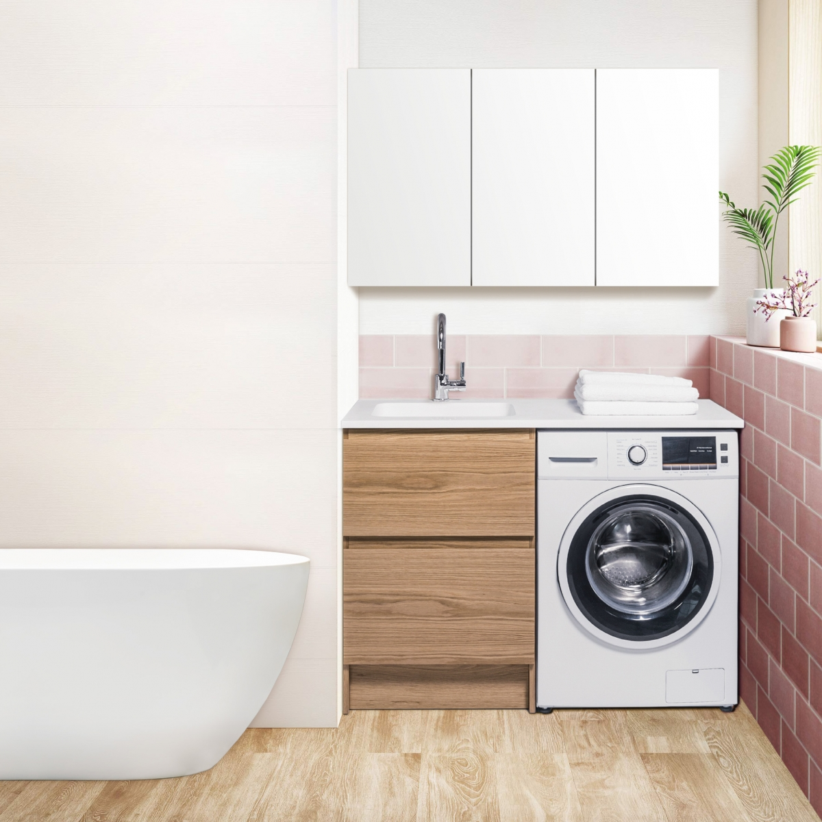 5 Ideas for a Small Laundry Spaces • Bath Co on Small Space Small Bathroom Ideas With Washing Machine id=58546